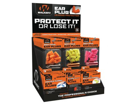 Walkers Game Ear Plug Display, Assorted, 58-Pack - GWPPLUGDIS