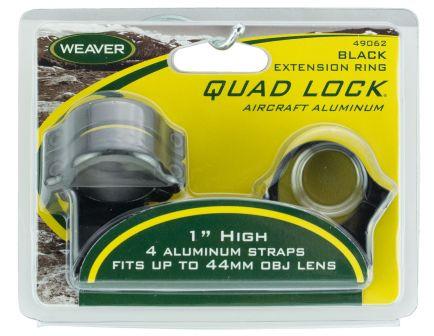 "Weaver Quad Lock 1"" High Aircraft Grade Aluminum Detachable Scope Ring, Glossy Black - 49062"