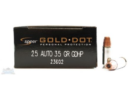 Speer 25 Auto/ACP 35gr Gold Dot Ammunition 20rds - 23602