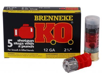 """Brenneke USA KO 12 Gauge 2.75"""" Shotgun Slug, 5/box - SL-122KO"""