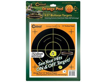 "Caldwell Orange Peel 5.5"" Flake Off Self-Adhesive Bullseye Shooting Target, Orange/Black, 10 Sheets/pack - 550010"