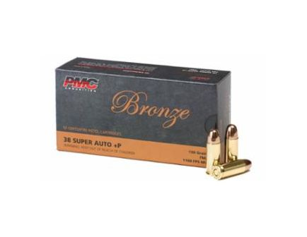 PMC Bronze 38 Super Auto+P  **NOT FOR REVOLVERS ** 130gr FMJ Ammunition 50rds - 38SA