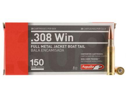 Aguila Centerfire 308 150 grain Full Metal Jacket Boat Tail Rifle Ammo, 20/Box - 1E308110