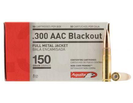 Aguila Centerfire 300 AAC Blackout 150 grain Full Metal Jacket Rifle Ammo, 50/Box - 1E300110