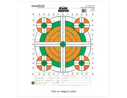 Champion Fluorescent Orange/Green Bullseye Scorekeeper Target 100 Yd Rifle Sight-In 12/Pack 45761