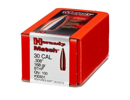 Hornady 30 Cal  (.308) 168 gr Match BTHP Bullets, 100 Count - 30501