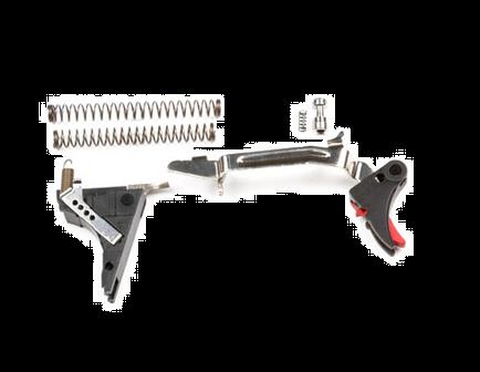 ZEV Tech Adjustable Fulcrum Drop-In Trigger Kit, Fits Gen 4 Glock 9mm, Blk/Red -- FUL-DRP-4G9-B-R