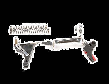 ZEV Tech Adjustable Fulcrum Drop-In Trigger Kit, Fits Gen 1-3 Glock 9mm, Blk/Red -- FUL-DRP-9-B-R