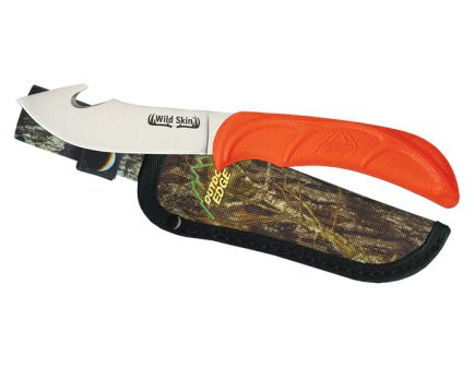 Outdoor Edge Wild-Skin Skinning Knife w/ Gut Hook, Orange Handle