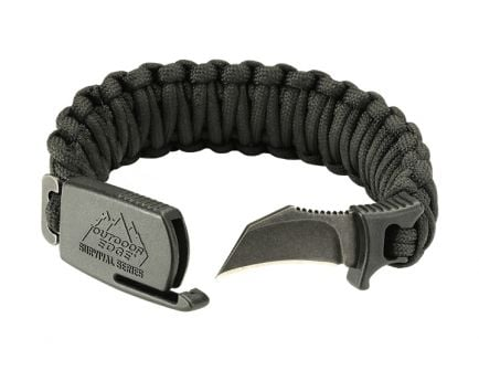Outdoor Edge Para-Claw Paracord Bracelet Tactical Knife, Black (Large)
