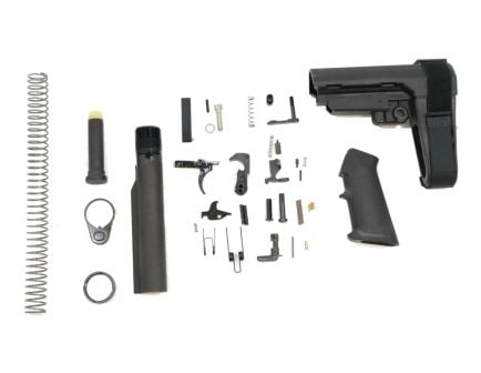 PSA Pistol AR-15 Lower Build Kit with an Adjustable SB Tactical Brace in Black