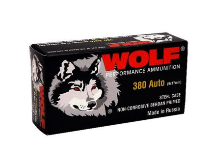 Wolf Steel Cased .380 ACP 91 gr FMJ 35 Rounds Ammunition - WPA917FMJ