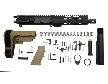 "PSA 7.5"" Pistol-length 5.56 NATO 1/7 Phosphate 7"" Lightweight M-Lok Classic SBA3 Pistol Kit, Flat Dark Earth - 5165449838"