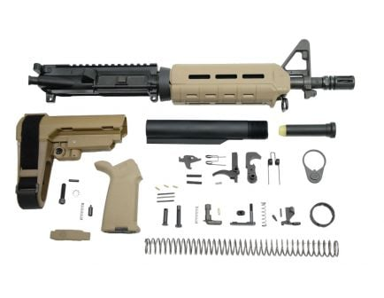 "PSA 10.5"" Carbine-Length 5.56 NATO 1/7 Nitride MOE SBA3 Pistol Kit, FDE"