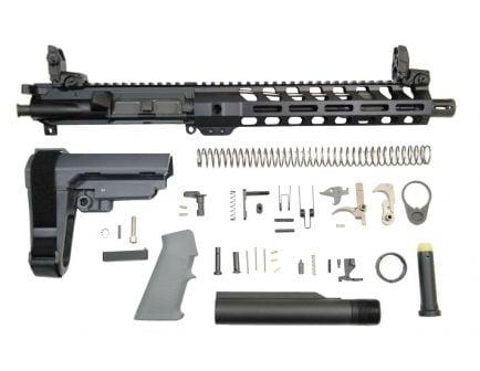 "PSA 10.5"" 5.56 NATO 1:7 Nitride 10.5"" Lightweight M-LOK Classic EPT SBA3 Pistol Kit w/ MBUS Sights, Gray"