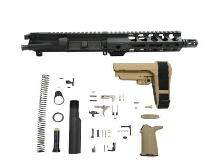"PSA 7.5"" Pistol-length 300AAC Blackout 1/7 Nitride 7"" Lightweight M-Lok MOE EPT SBA3 Pistol Kit, FDE"