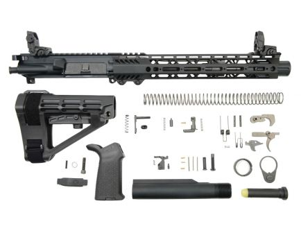 "PSA 10.5"" Carbine-Length 5.56 NATO 1/7 Nitride 12"" Slant M-Lok MOE EPT SBA4 Pistol Kit With MBUS Sight Set & NiB BCG"
