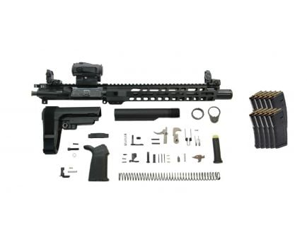 """PSA 10.5"""" Carbine-Length 5.56 NATO 1/7 Nitride 12"""" Slant M-Lok MOE EPT SBA3 Pistol Kit w/MBUS Sight Set, NiB BCG, & Sparc + 10 PMAGS"""