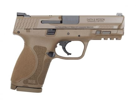 S&W M&P 2.0 Compact 9mm Pistol, FDE, Manual Safety - 12459