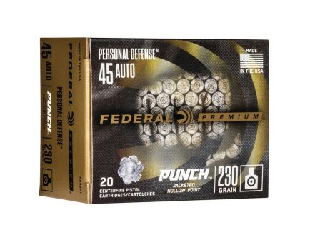 Federal Punch 230 gr JHP .45 Auto Ammo, 20/pack - PD45P1
