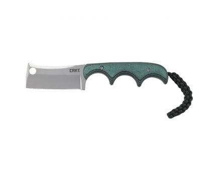 "CRKT Minimalist Cleaver Fixed Blade Knife w/ Sheath, 2.13"", Green - 2383"