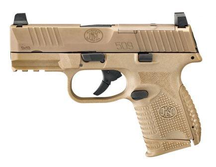 """FN 509 Compact MRD 9mm 15rd 3.7"""" Pistol, FDE - 66-100574"""