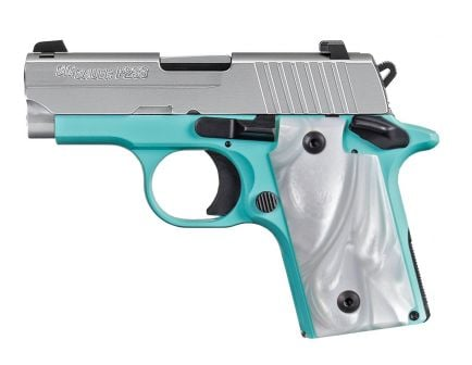 "Sig Sauer P938 9mm 7rd 3"" Robins Egg Blue Pistol w/ Night Sights - 938-9-REB-AMBI"
