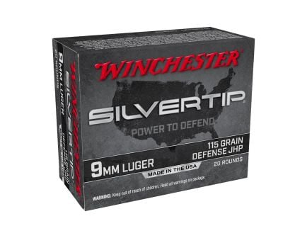Winchester 9MM 115gr Silver Tip HP, 20rd Ammunition - W9MMST