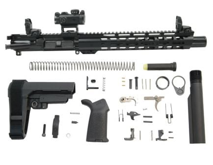 "PSA 10.5"" Carbine-Length 5.56 NATO 1/7 Nitride 12"" Slant M-Lok MOE EPT SBA3 Pistol Kit with MBUS Sight Set & Romeo MSR"