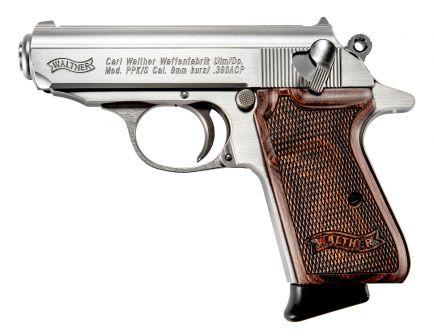 Walther PPK/S .380ACP 7rd Pistol, Stainless w/ Walnut Grip - 4796004WG