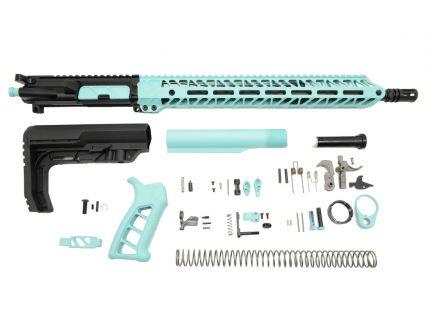 """PSA 16"""" 5.56 NATO 1/7 Mid-Length Nitride 15"""" Lightweight M-Lok Timber Creek Enforcer EPT Rifle Kit, Robin's Egg Blue"""