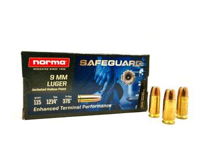 Norma Safeguard 115 gr JHP 9mm Ammunition 50 Rounds