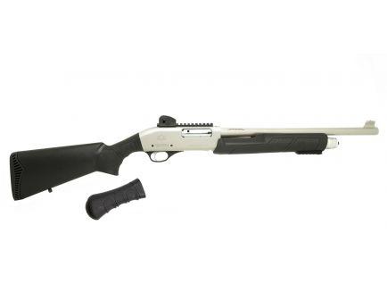 "Black Aces Tactical 18.5"" 12ga Pump Shotgun w/ Full Stock & Shockwave Grip, Nickel - BATSPUMPNICKEL"