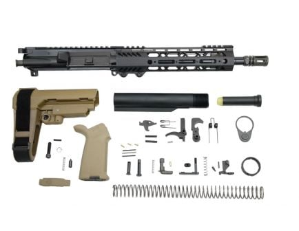 "PSA 10.5"" 5.56 NATO 1/7 Phosphate 9"" Lightweight M-Lok MOE SBA3 Pistol Kit, FDE"