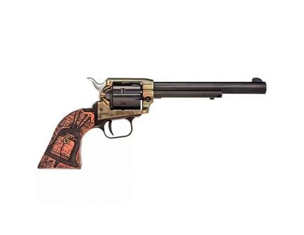 "Heritage Rough Rider 6.5"" .22LR Revolver, Wood Engraved Liberty Bell - RR22CH6WBRN18"
