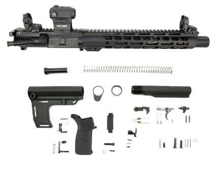 "PSA 10.5"" Carbine-Length 5.56 NATO 1/7 Phosphate 12"" M-Lok Slant MFT Battlelink Pistol Kit with MBUS Sight Set & Holosun Red Dot"