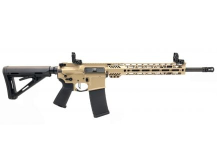 "PSA Custom 5.56 NATO 16"" Phospate Carbine-Length 12"" Cross-Cut Rifle w/ 3.5lb Flat Bow FCG, Ambi Safety & MBUS - Tan"