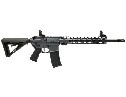 "PSA Custom 5.56 NATO 16"" Nitride Carbine-Length 13.5"" Cross-Cut MLOK MOE Rifle w/ 3.5lb Flat Trigger, Ambi Safety & MBUS - Grey"