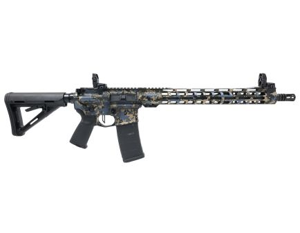 "PSA Custom 5.56 NATO 16"" Nitride Rifle 15"" Slim-Line MLOK Rail Rifle w/ 3.5 lb Flat FCG, MBUS, & Ambi Safety - ""Swamp Digital"""