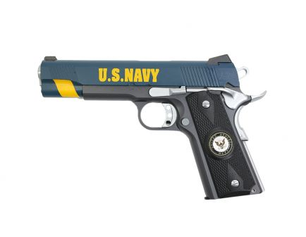PSA Custom US Navy .45 ACP 1911 Pistol w/Enameled Medallion Grips, 3 Magazines, Soft case, & Watertight Storage Case
