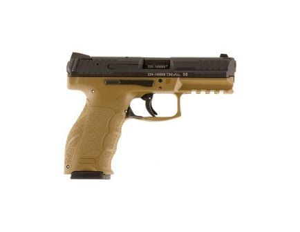 hk vp9 9mm pistol with two 15rd magazines in FDE