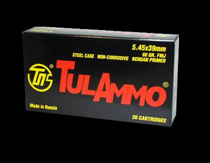 Tula 5.45x39 Ammo 60 Gr FMJ Steel Cased 20 rds/box - TA545390