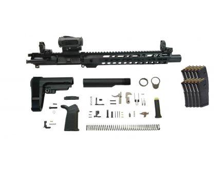 "PSA 10.5"" Carbine-Length 5.56 NATO 1/7 Phosphate 12"" Slant M-Lok MOE EPT SBA3 Pistol Kit w/MBUS Sight Set, Sparc AR 2 + 10 PMAGS"