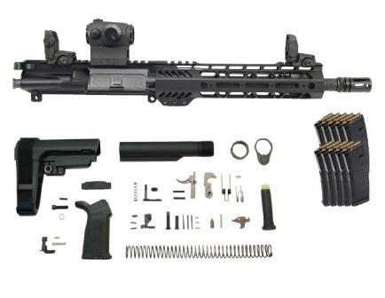 "PSA 10.5"" Carbine-Length 5.56 NATO 1/7 Phosphate 9"" Lightweight M-Lok MOE EPT SBA3 Pistol Kit w/MBUS Sight Set, Romeo5 + 10 PMAGS"