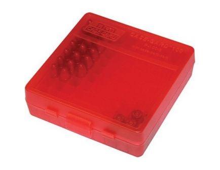 MTM Case Gard P-100 9mm/.380 ACP/.30/.32 S&W/9mm Makarov 100 Round Flip-Top Ammo Box, Clear Red - P-100-9-29