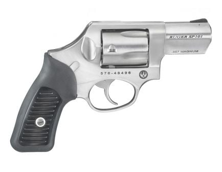 """Ruger SP101 .357 Magnum 2.25"""" Revolver, Stainless w/ Black Rubber Grips - 5720"""
