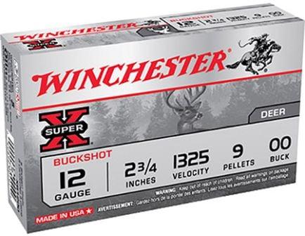 """Winchester 12ga 2.75"""" 9 Pellet 00 Buck Shotshell Ammunition 5rds - XB1200"""