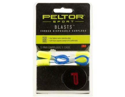 3M Peltor Sport Blasts 32 dB Disposable Corded Ear Plug, Yellow, 2 Pair/pack - 97081