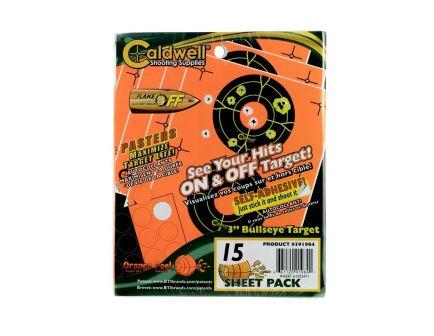 "Caldwell Orange Peel 3"" Flake Off Self-Adhesive Bullseye Shooting Target, Orange/Black, 15 Sheets/pack - 391984"