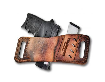 Versacarry Rapid Slide Micro Ambidextrous Hand Outside the Waistband No Laser Holster w/ Magazine Pouch, Distressed Brown - WB380AMB2